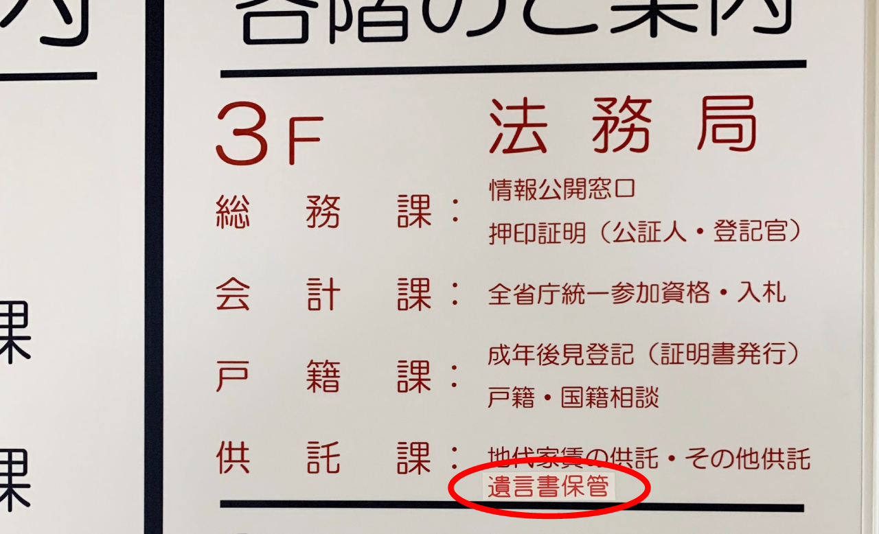 法務局支局内の各階掲示板
